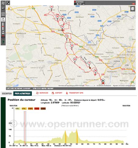 Randonnée en bleu et jaune 2014 - Wavrin - Parcours 96 km