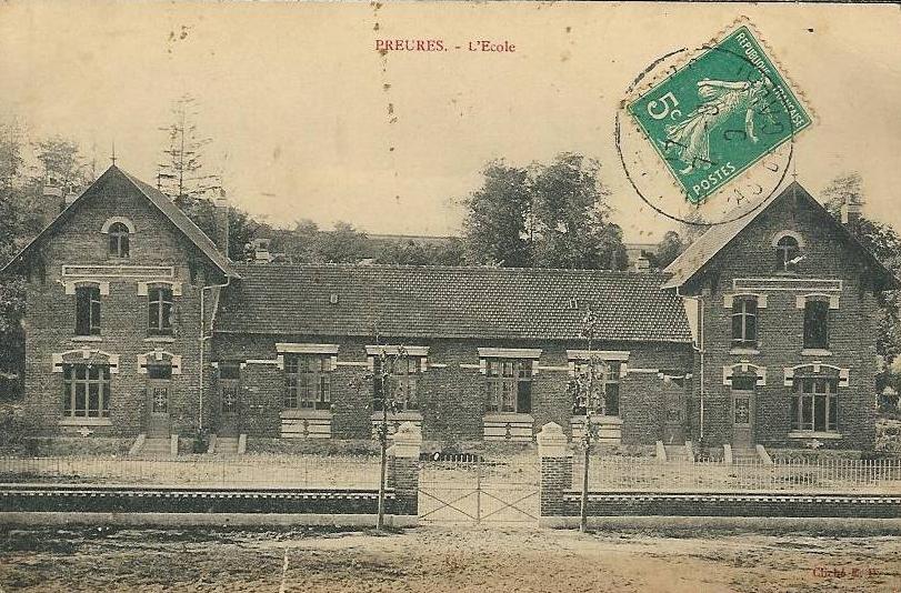 Preures_mairie-école vieille carte postale
